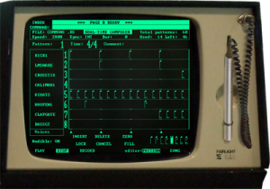An interface page like this would have been used to program the drums on Bouncing off the Satellites